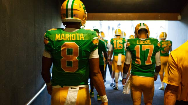Marcus Mariota is the first University of Oregon football player to win the Heisman Trophy. (Source: KPTV.com)