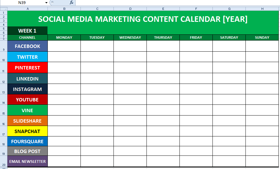 Social Media Strategy How to Manage Multiple Pages – Sample Social Media Calendar